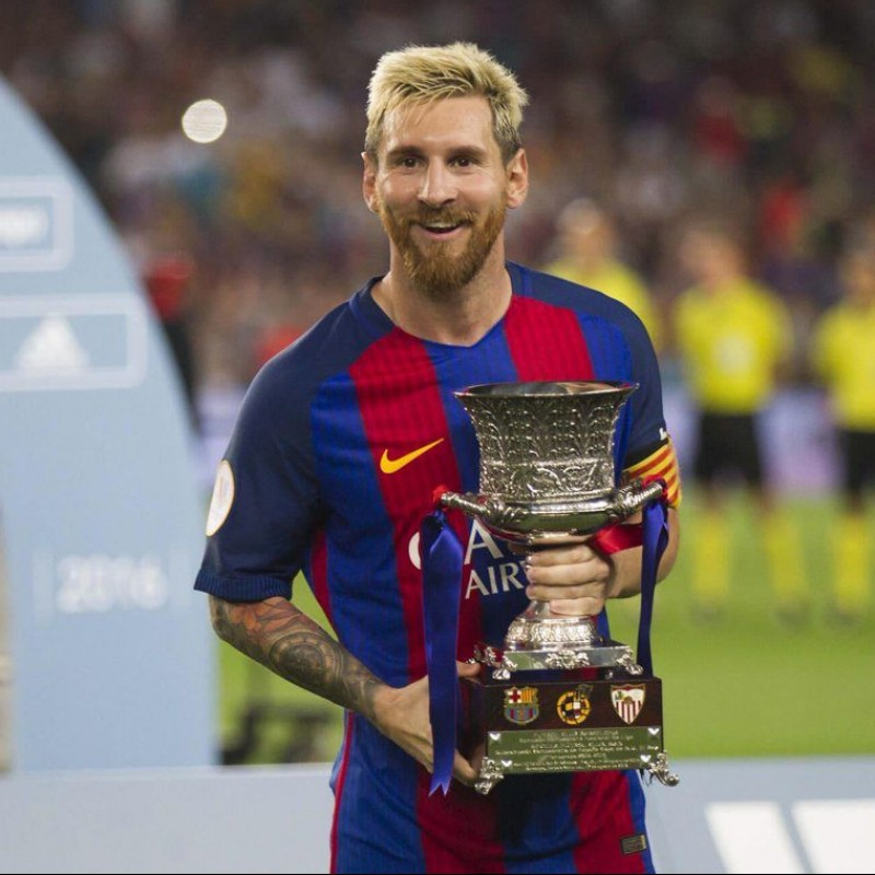 Messi's Barcelona Match-Issue Shirt, Supercopa de España 2016
