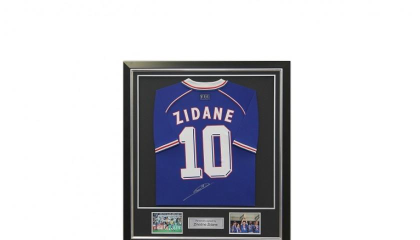 e9a493c1d7f Deluxe Framed Zinedine Zidane Signed France 1998 Football Shirt ...