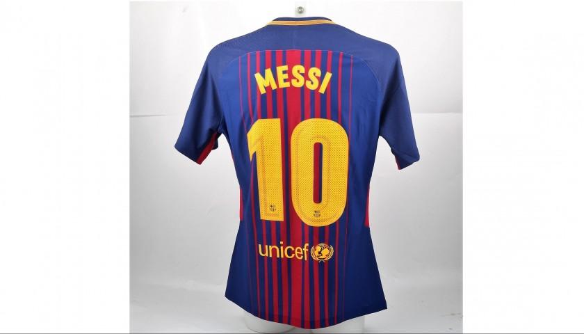 hot sale online c28e5 3d601 Messi Barcelona Match issued / worn Shirt, UCL 2017/18 - CharityStars