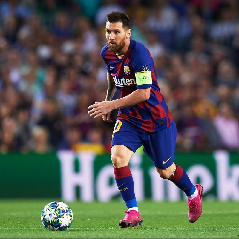 Messi's Barcelona Match Shirt, UCL 2019/20 + Armband