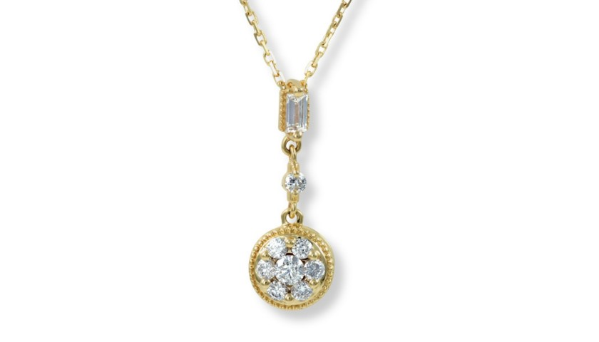 14KT Yellow Gold Diamond Drop Pendant
