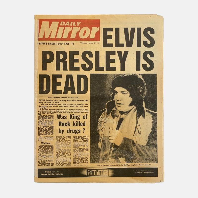 Daily Mirror 'Elvis Presley Is Dead' 17/8/77 Original Newspaper