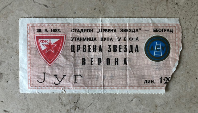 Original Ticket Red Star Belgrade-Hellas Verona, 1983