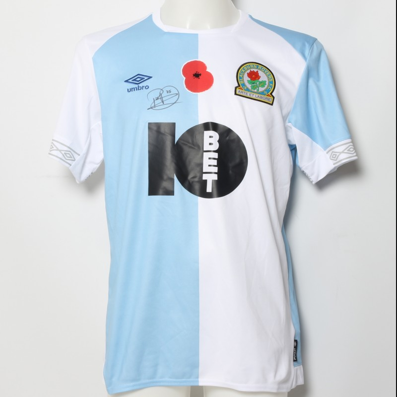 Paul Downing's Match-Worn Blackburn Rovers Signed Poppy Home Shirt