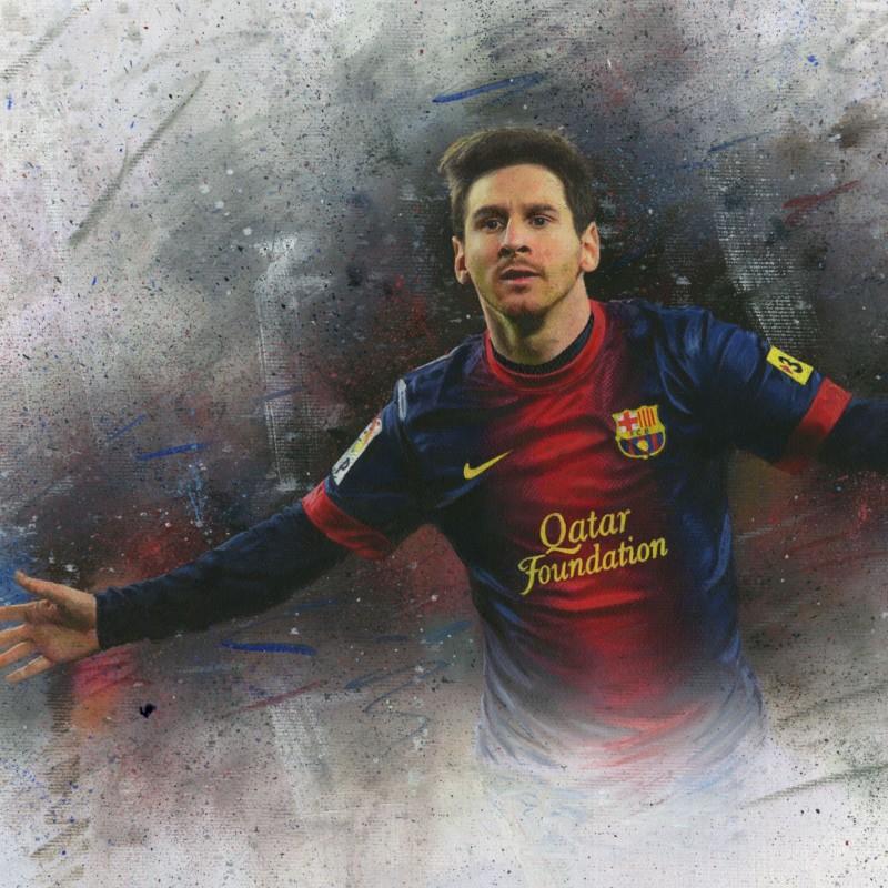 World renowned sport artist, Darren Baker, Lionel Messi portrait