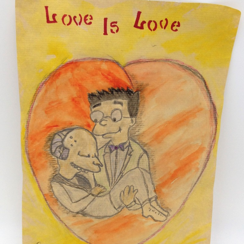 """Simpson Love is Love"" Original Board of Smithers and Burns by J.E."