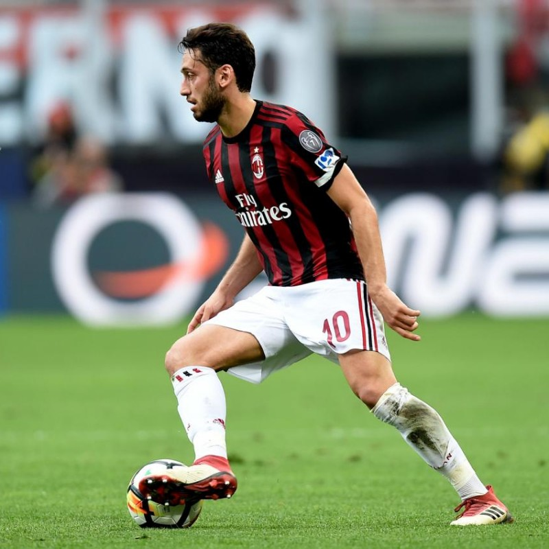 Calhanoglu's AC Milan Match-Issue/Worn Shirt with FIGC Patch, 2018 Season