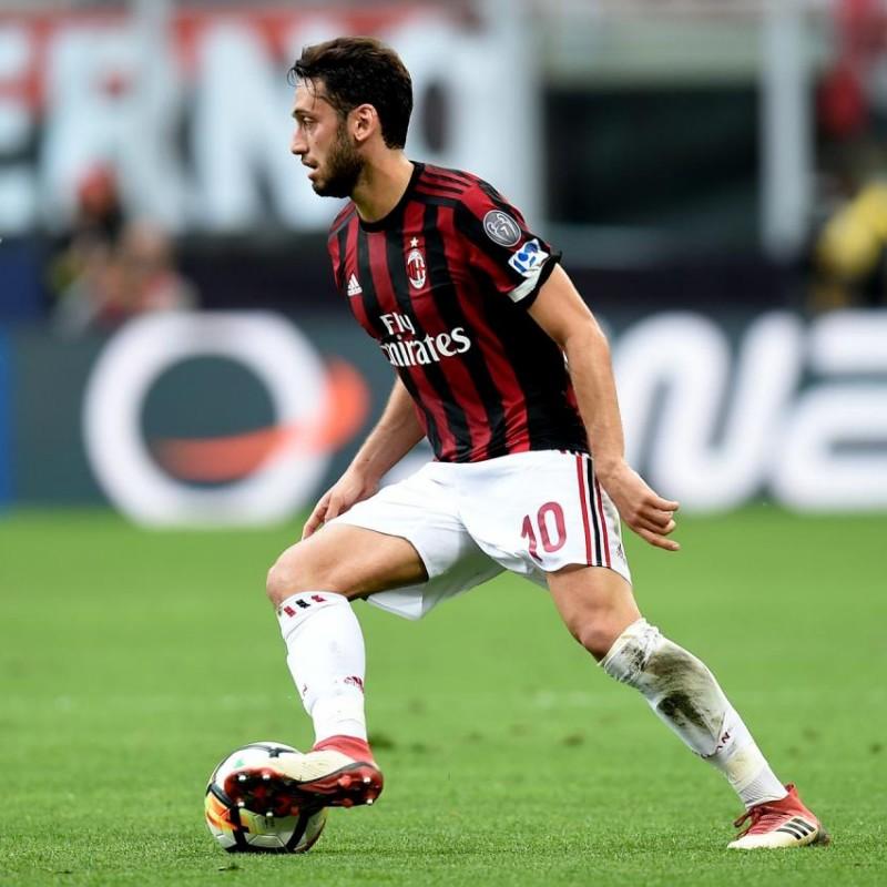 Calhanoglu's AC Milan Match-Issue/Worn Shirt with FIGC Patch, 2018 Season
