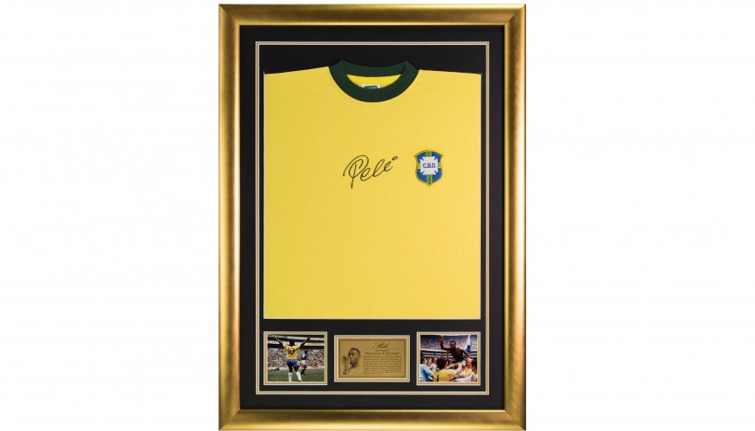 Framed Official Brazil Shirt Signed by Pelé - CharityStars c810a22c7