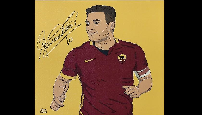 Illustrazione Francesco Totti autografata