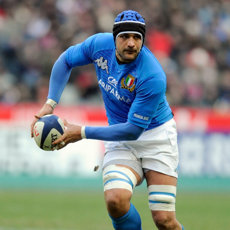 Marco Bortolami's Italy Rugby Shirt, Six Nations 2012