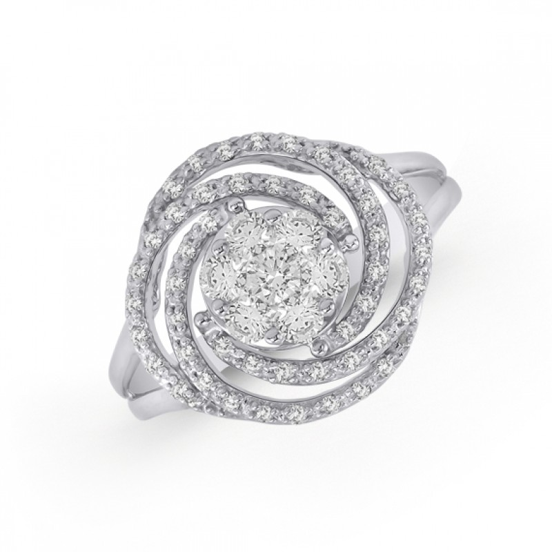 14KT White Gold Swirl Diamond Ring