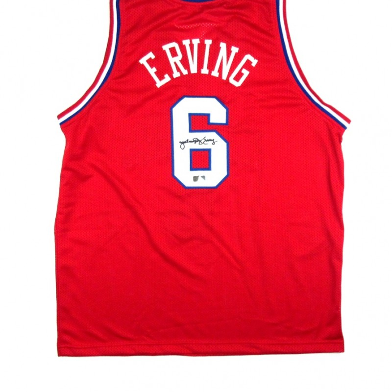 "Philadelphia 76ers Custom Basketball Jersey Signed by Julius ""Dr J"" Erving"