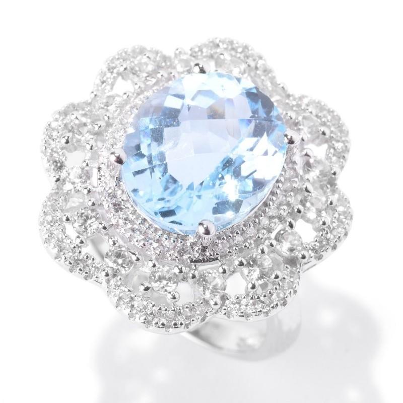 Blue Topaz and White Zircon Flower Halo Ring