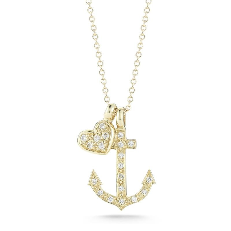 14 Karat Yellow Gold Anchor & Heart Charm Necklace