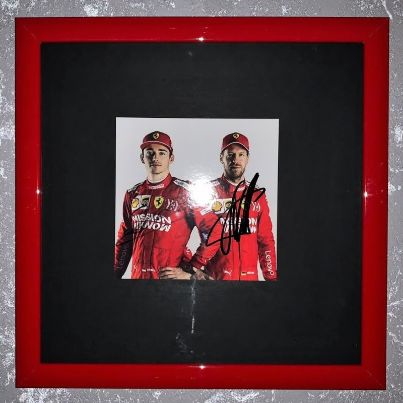Leclerc and Vettelr Signed Photograph
