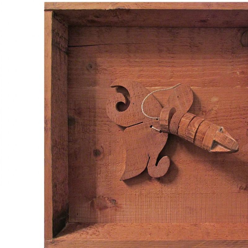 "Mario Ceroli ""Lui"" wooden sculpture. Year 1971 - 32x32x7 cm"