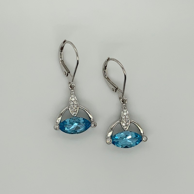 Blue Topaz and Diamond Earrings in 14KT Yellow Gold