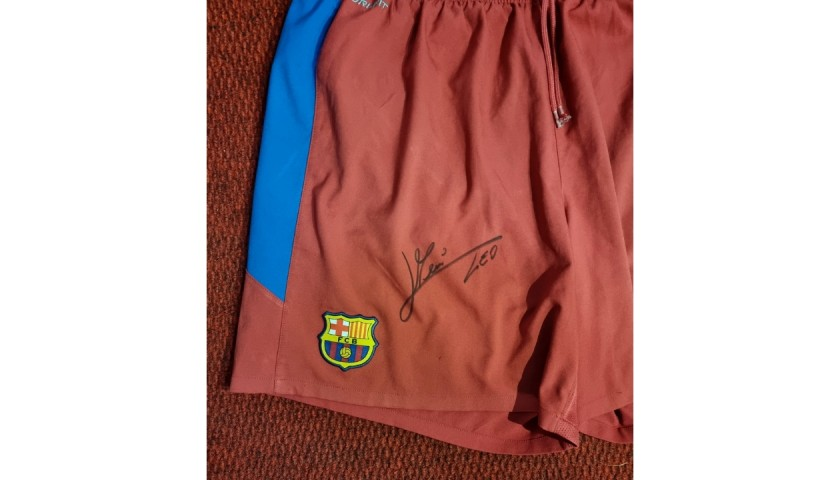 Official Barcelona Shorts - Signed by Messi