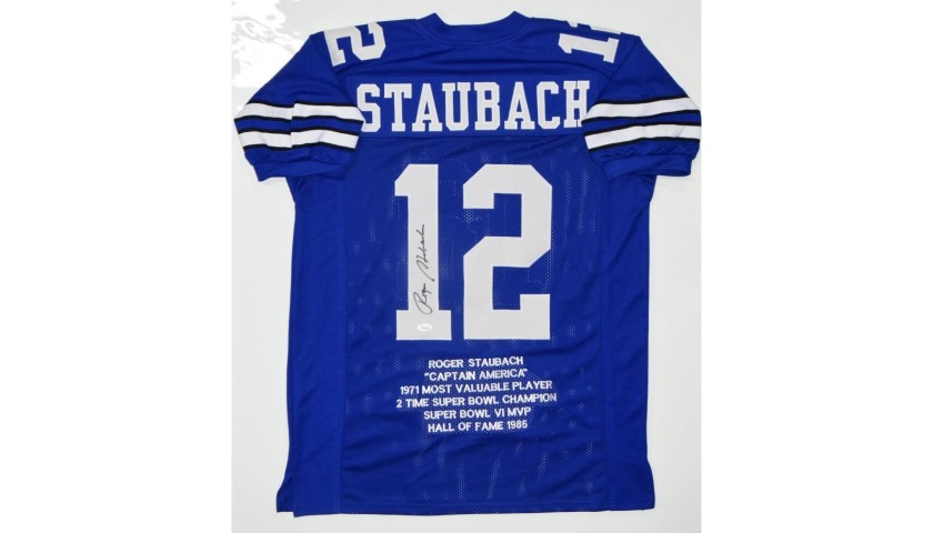 Roger Staubach Hand Signed Cowboys Jersey