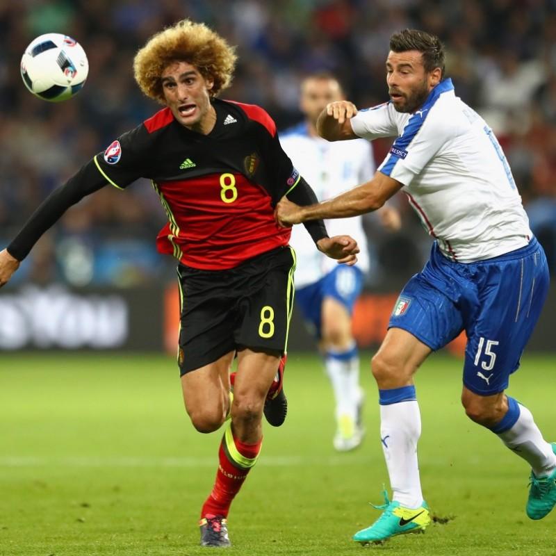 Barzagli's Match-Issue/Worn Belgium-Italy Euro 2016 Shirt