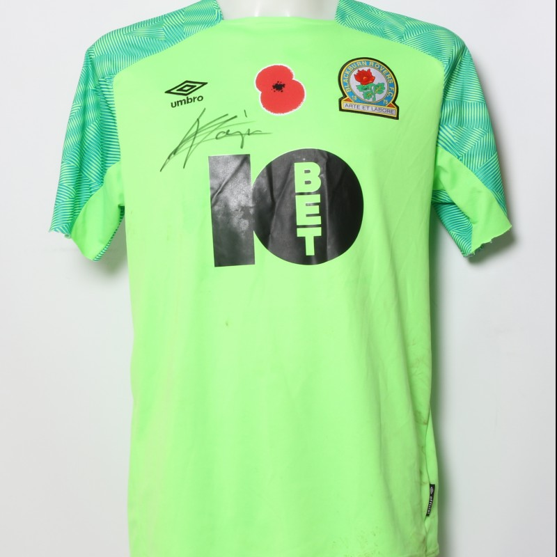 David Raya's Match-Worn Blackburn Rovers Signed Poppy Home Shirt