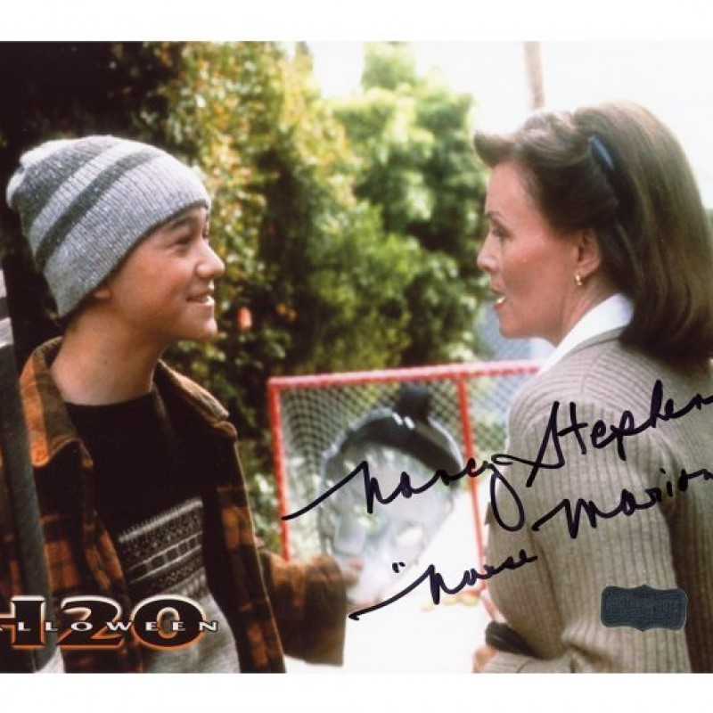 "Nancy Stevens Signed Halloween Photo – H20 with ""Marion"" Inscription"