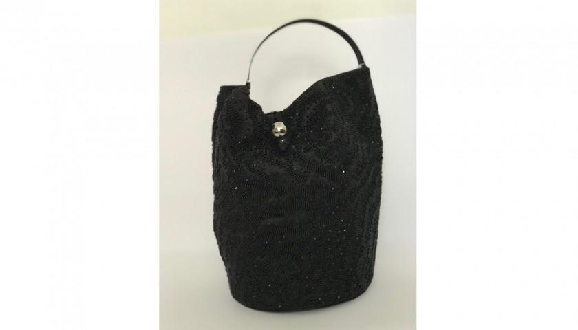 Lot 30 - Mini black grab bucket bag by Giorgio Armani