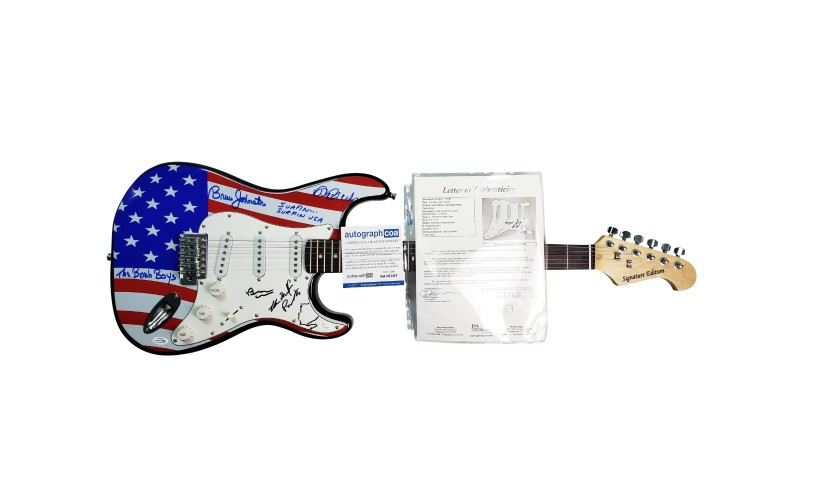 The Beach Boys Hand Signed Flag Guitar with Hand-Written Lyrics