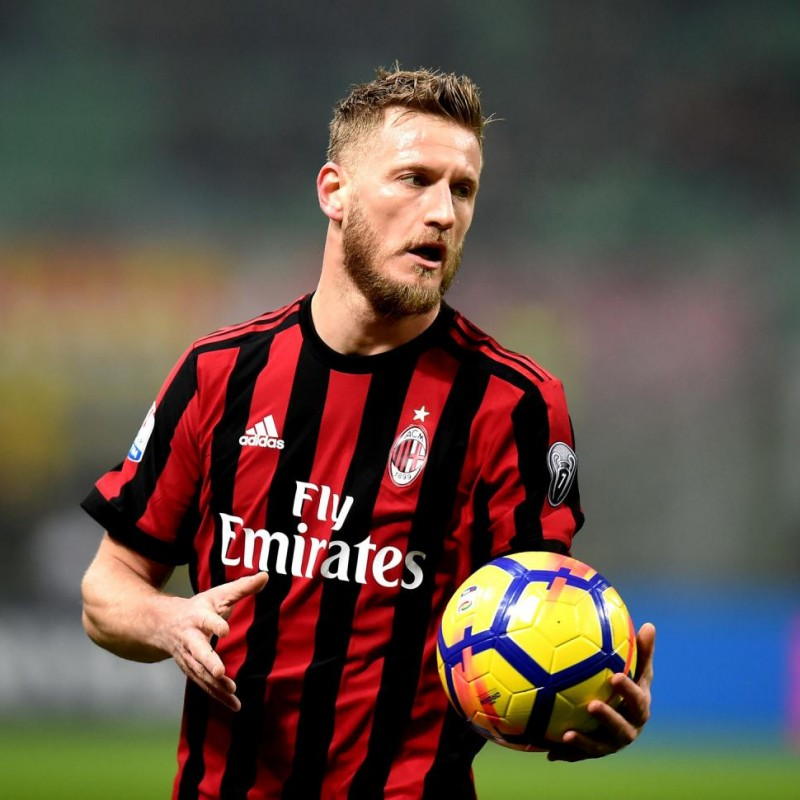 Abate's Match-Worn Milan-Inter Shirt with Special Patch