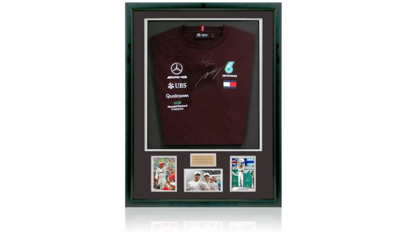 Mercedes Formula 1 Team Shirt, Hand Signed by Lewis Hamilton MBE & Valtteri Bottas