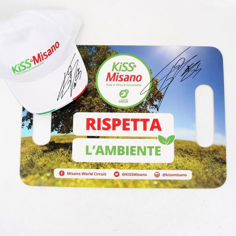 KiSS Misano Banner and Cap Signed by Loris Capirossi