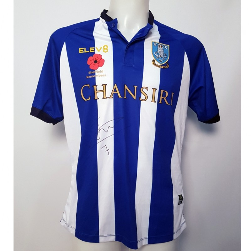 Josh Onomah's Sheffield Wednesday Worn and Signed Poppy Home Shirt