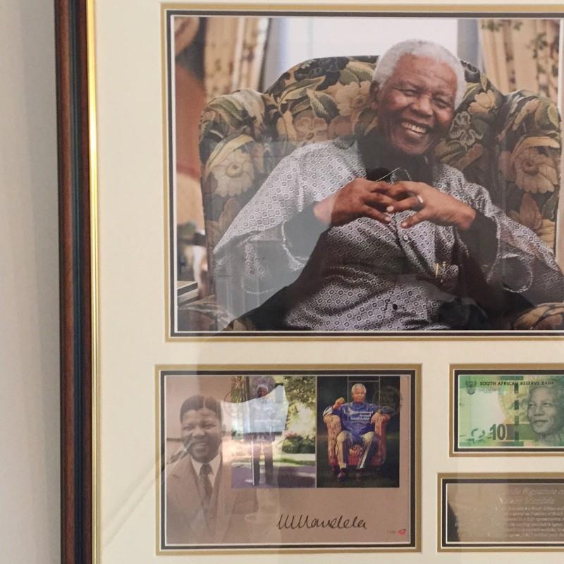 Nelson Mandela Signed Commemorative  Display