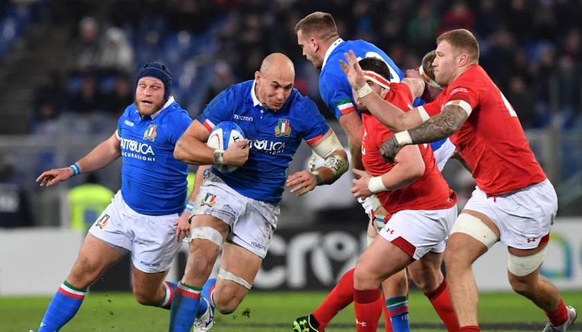 Italy Rugby Shirt Worn by Parisse against Wales, Six Nations 2019
