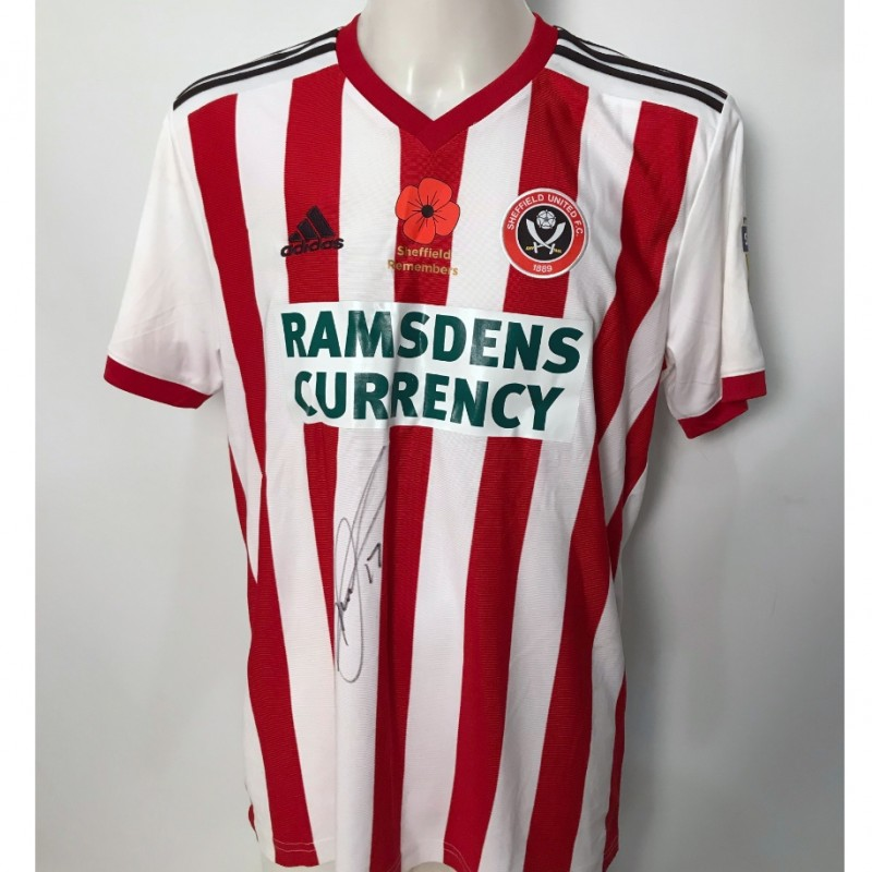David McGoldrick's Sheffield United Worn and Signed Poppy Home Shirt