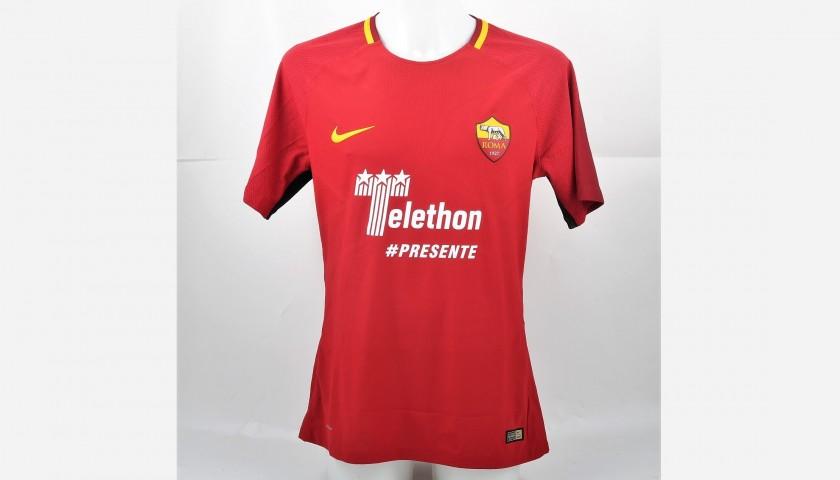Manolas' Match-Worn Roma-Cagliari Shirt, Special Sponsor Telethon