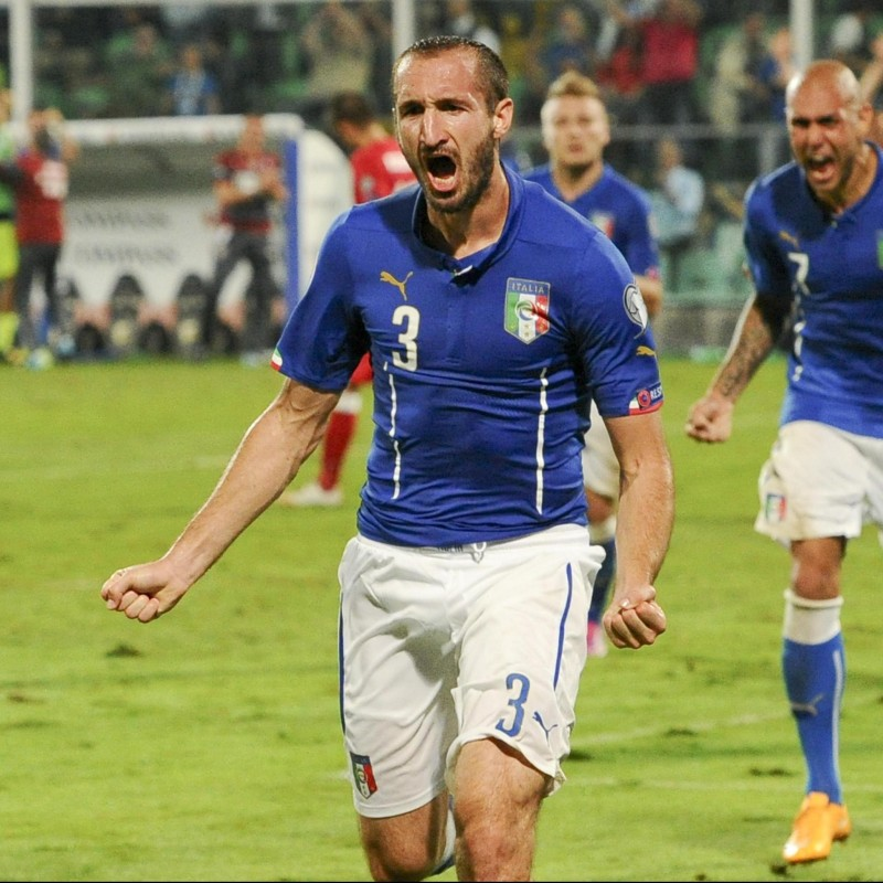 Chiellini's Italy Signed Match Shorts, 2014
