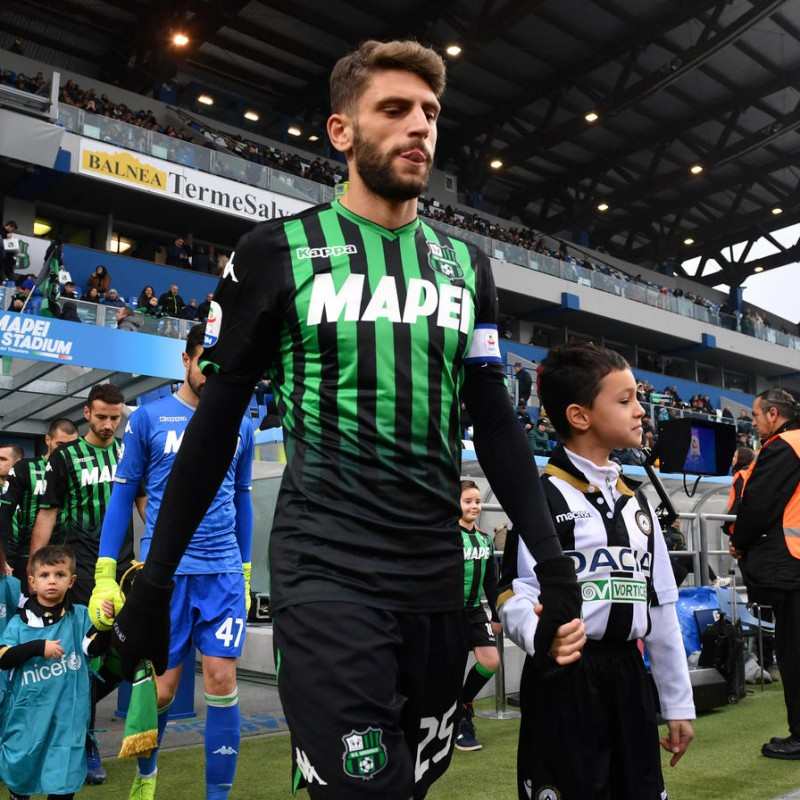 Berardi's Signed Shirt with Special UNICEF Patch, Sassuolo-Udinese