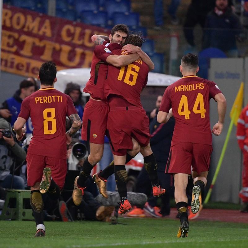Castan's Match-Worn Roma-Cagliari Shirt, Special Sponsor Telethon