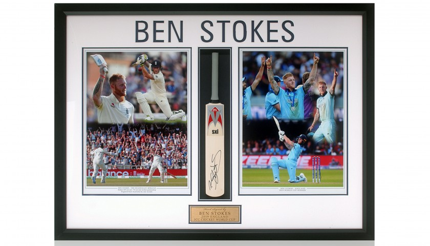 Ben Stokes Hand Signed Mini Cricket Bat Presentation