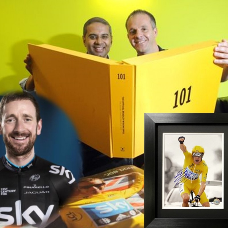 Sir Bradley Wiggins Signed and Framed Photo Display lus an Opus 101 Classic Edition Book