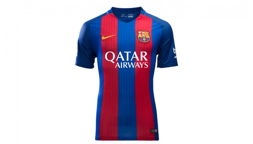 62300a53ab5 Official Barcelona 2016 17 Shirt Signed by Lionel Messi - CharityStars
