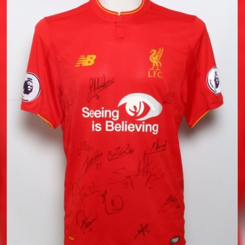 Signed 2016/17 LFC Squad Limited Edition 'Seeing is Believing' Shirt