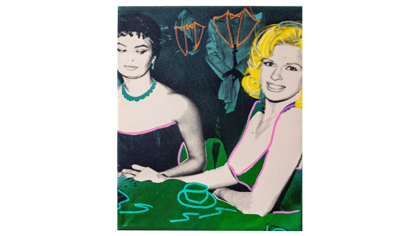 """Sophia Loren & Jayne Mansfield Green"" by Steve Kaufman"