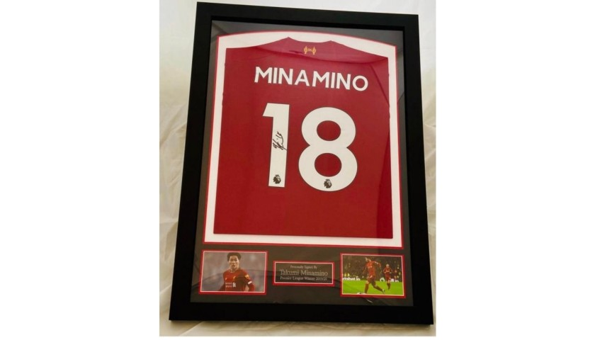 Takumi Minamino Liverpool Signed & Framed Shirt