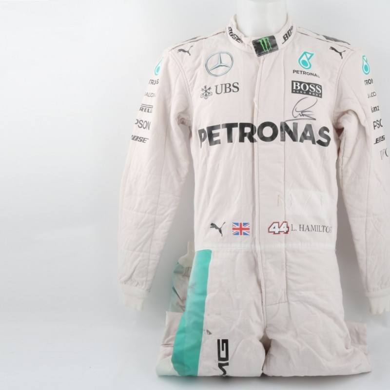 Mercedes suit worn by Lewis Hamilton, F1 2016 season - signed + COA