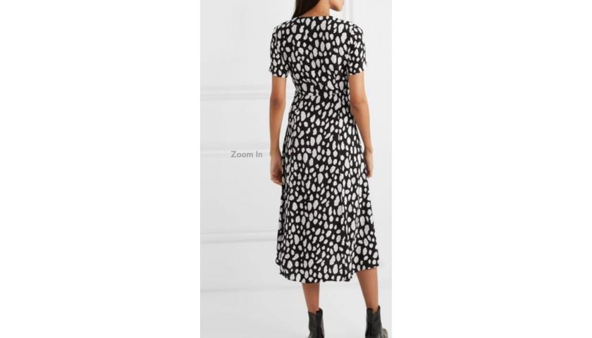 Maje Printed Crepe Wrap-Effect Midi Dress