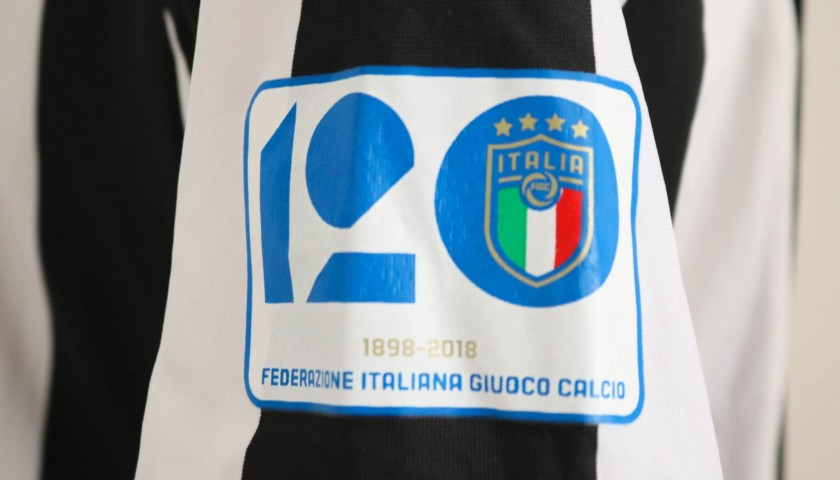 Douglas Costa's Worn and Unwashed Juventus-Bologna Shirt with 120 anni FIGC Patch