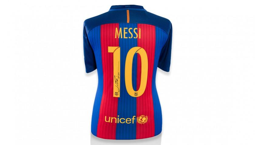81bfa4e90 Signed Messi Barcelona Jersey 2016 2017 - CharityStars